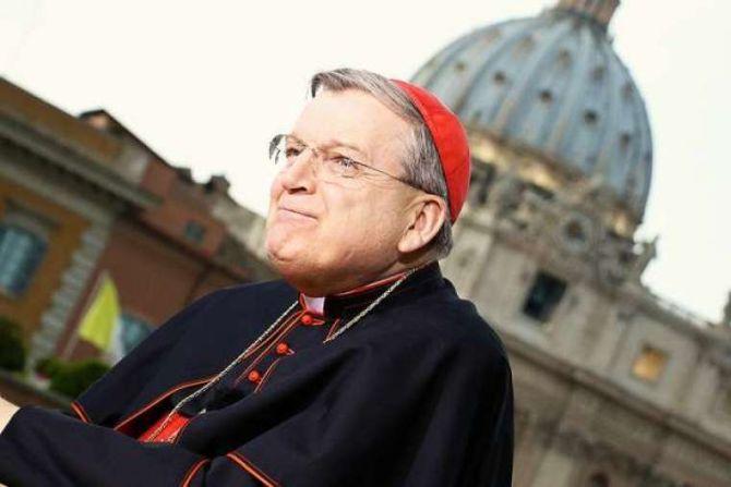 Cardinal Raymond Burke at EWTN studio in Rome during the Canonization of Pope St John Paul II and Pope St John XXIII Credit Steven Driscoll CNA