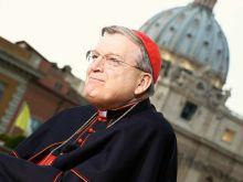 Cardinal Raymond Burke at EWTN studio in Rome during the Canonization of Pope St. John Paul II and Pope St. John XXIII.