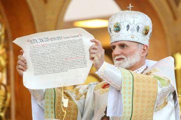 Metropolitan Archbishop Borys Gudziak during the Hierarchical Divine Liturgy and Rite of Enthronement Courtesy Archeparchy of Philadelphia CNA