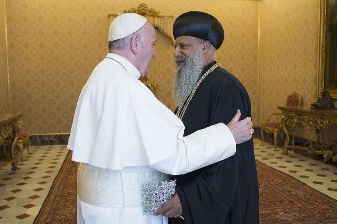 Pope Francis and Patriach Abune Mathias Ethiopian Orthodox Feb 29 2016