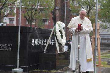 Pope Francis prays at the Nagasaki ground zero site on Nov 24 2019 Credit Vatican Media