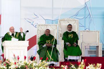 Pope Francis says Mass at Campo San Juan Pablo II for World Youth Day Panama Jan 27 2019 Credit Daniel Ibez CNA