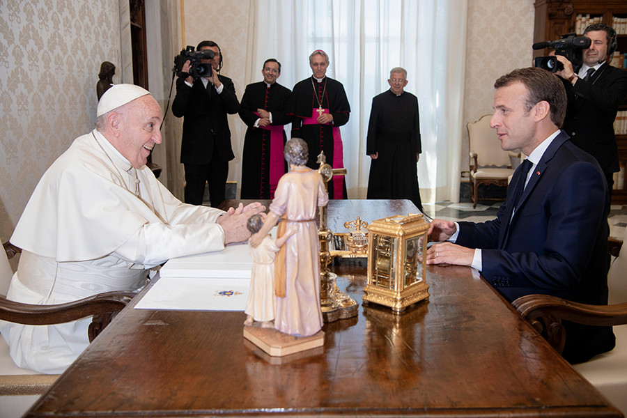 Pope Francis with French President Emmanuel Macron in the Apostolic Palace on June 26, 2018.