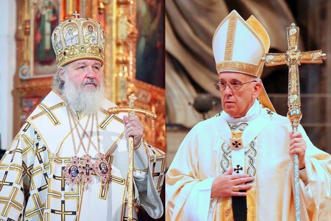 Russian Orthodox Patriarch Kirill L Credit PatriarchiaRu PopeFrancis R Credit Alexey Gotovsky CNA