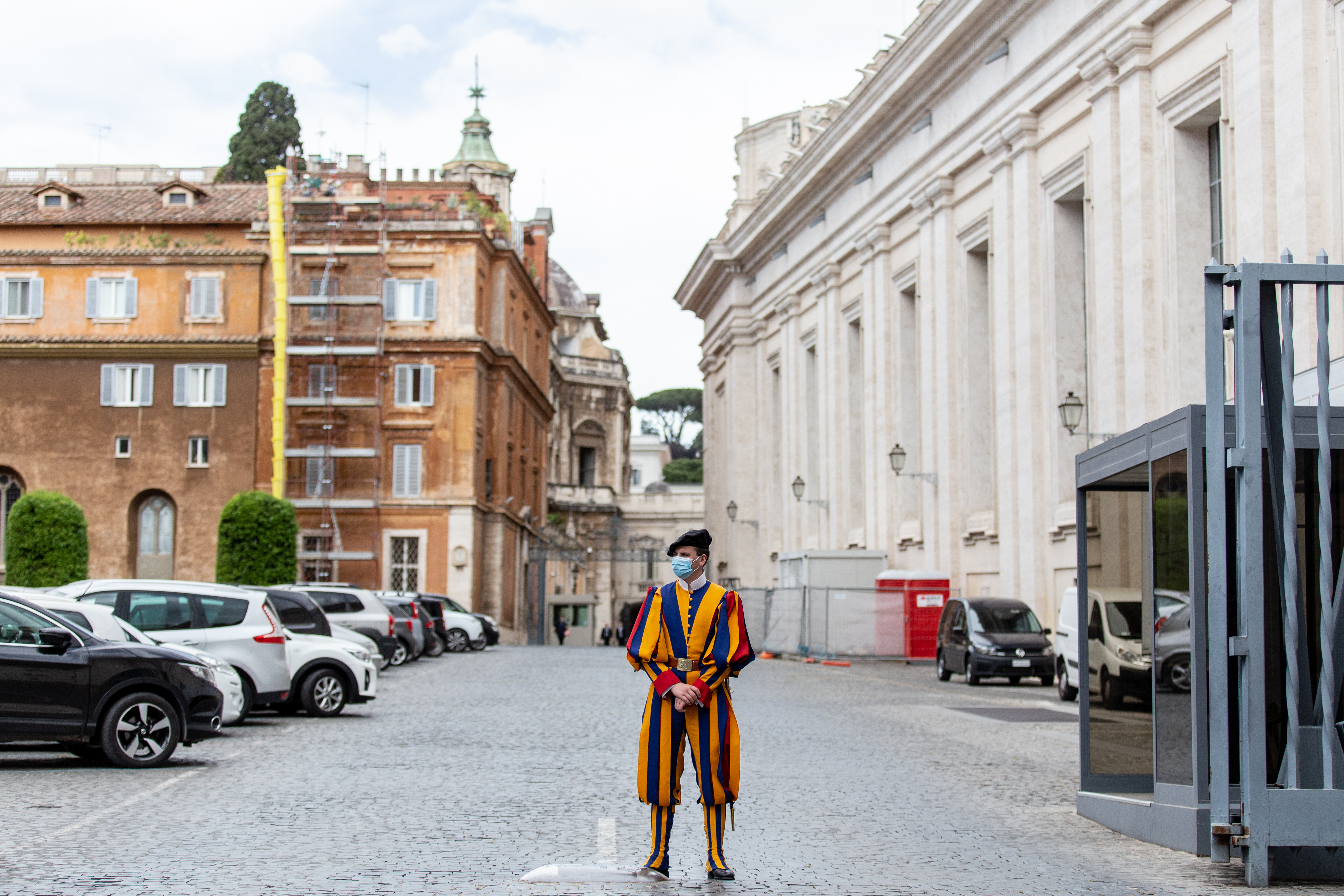 A Swiss Guard watches over an entrance to the Vatican. Daniel Ibanez/CNA.